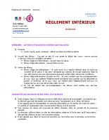 Règlement intérieur 2018-2019